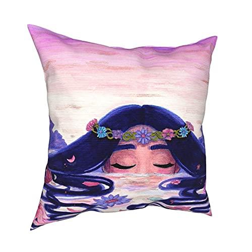 DRXX Lac Tapestry Funda de Almohada Moda Cuadrada Funda de Almohada Decoración Throw Pillow Cover 45 X 45 cm