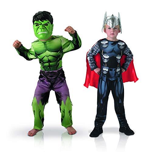 Rubie's-Disfraz oficial – Marvel-Bi Pack Classic Asamblea Hulk + Thor, niño talla L 155039L