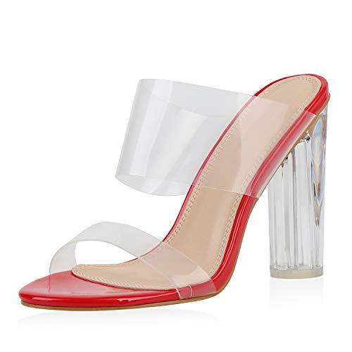 SCARPE VITA Damen Sandaletten High Heels Transparente Party Schuhe Pantoletten Lack Sommer Absatzschuhe 187107 Rot 37