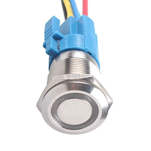 Mintice 22mm 12V 5A Auto Toggle Schakelaar Voertuig LED Licht Angel Eye roestvrij staal Metalen Drukknop Stopcontact Plug Groen