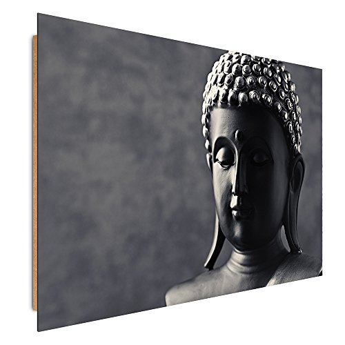 Feeby Frames, Cuadro de Pared, Cuadro Decorativo, Cuadro Impreso, Cuadro Deco Panel, 50x70 cm, Buda, Blanco Y Negro