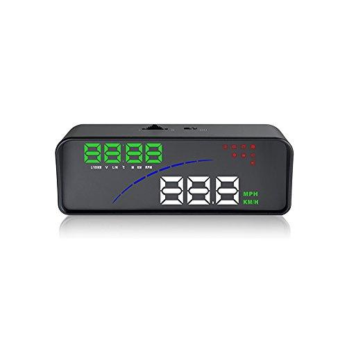Montloxs Coche P9 HUD Head Up Display OBD Medidor digital inteligente 2 pantalla Way Over Speed Advertencia Alarma Temperatura del agua Voltaje Compatible con OBDII EOBD System Model Cars