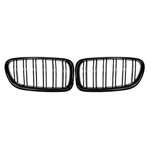 NADAENQ Front Grill Riñón, para BMW F18 F10 F11 5 Series 2010 2011 2012 2013 2014 2015 2015 2016 Pareja Pareja Fibra de Carbono Negro Matte,Gloss Black 2 Slat