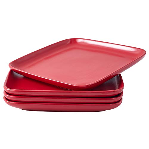 Bruntmor 8-Inch Set of 4, Heavy Duty Ceramic Dinner Plates, Elegant Matte Square Serving Plates for Dessert, Classic Serving Plate for Steak, Pasta and Salad, Dinner Plates, Red