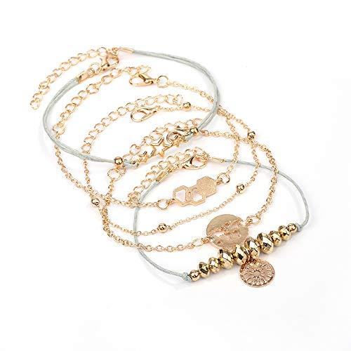 AKKi jewelry Damen Armband Sets Set Angebot Tennis-Armband, in rhodiniert Armkette mit Silber Kristall Perlen bohemischer Stil schmuck verstelbar Gold