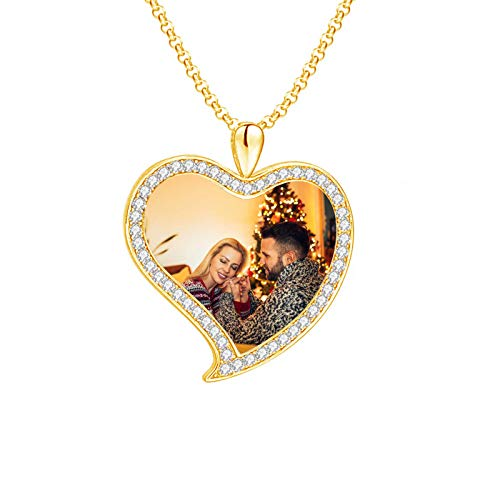 Personalized Picture Necklace Customized Text Photo Necklace Pendant Necklace Heart Shaped Necklace Dog Tag Gift for Mom(18k Gold Plated 16)