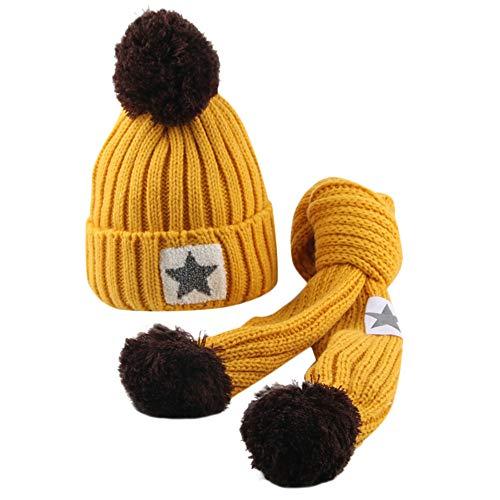 QinMM Infantil bebé Sombrero y Bufandas de Punto otoño Invierno niños niñas...