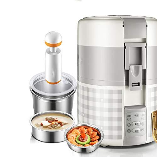 Dongbin Mini Electric Fiambrera, 2 litros de cerámica Revestimiento de calefacción Fiambrera Oficinista Plug-in de Tres turnos Aislado Almuerzo Box 1-2 Personas,Plata