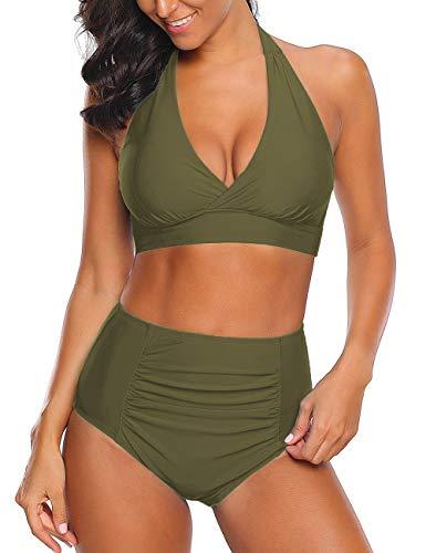 Roskiky Halter Bikinioberteil mit vorderseitigem Knoten, hoch taillierte Tankini Hose mit leichten Rüschen Militärgrün Größe L