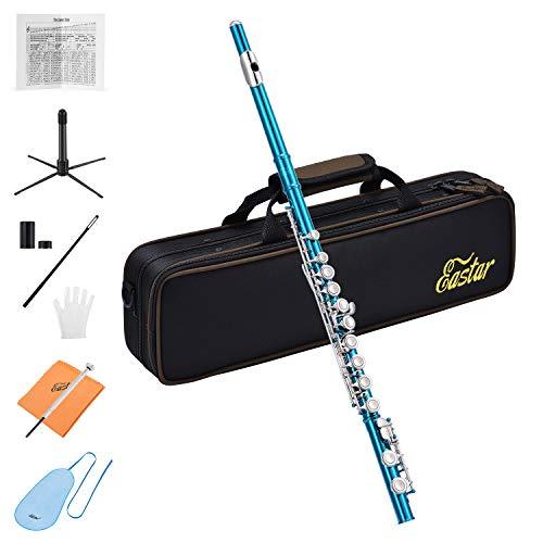 Eastar C Flöte 16 geschlossen Löcher Querflöte Instrument Vernickelt Flöte Anfänger Set mit Flötenständer Koffer Reinigungstuch Handschuhe, Himmelblau (EFL-1SB)