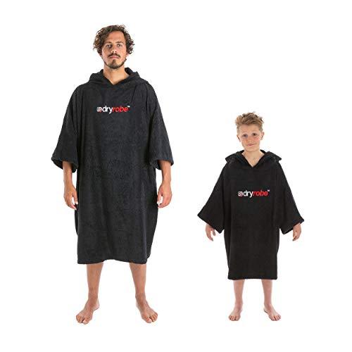 Dryrobe - Frottee-Umkleidemantel für Kinder - kurzärmeliger Poncho aus Handtuchstoff - Schwarz, Klein