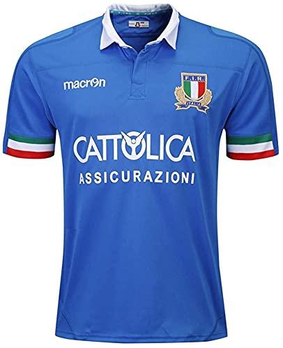 LQWW 2019 World Cups Italien Rugby Auswärts Jersey, Herren Polyester Schnelltrocknung T-Shirt Neue Stoff Bestickt, Swag Sportswear (Color : Blue, Size : L)