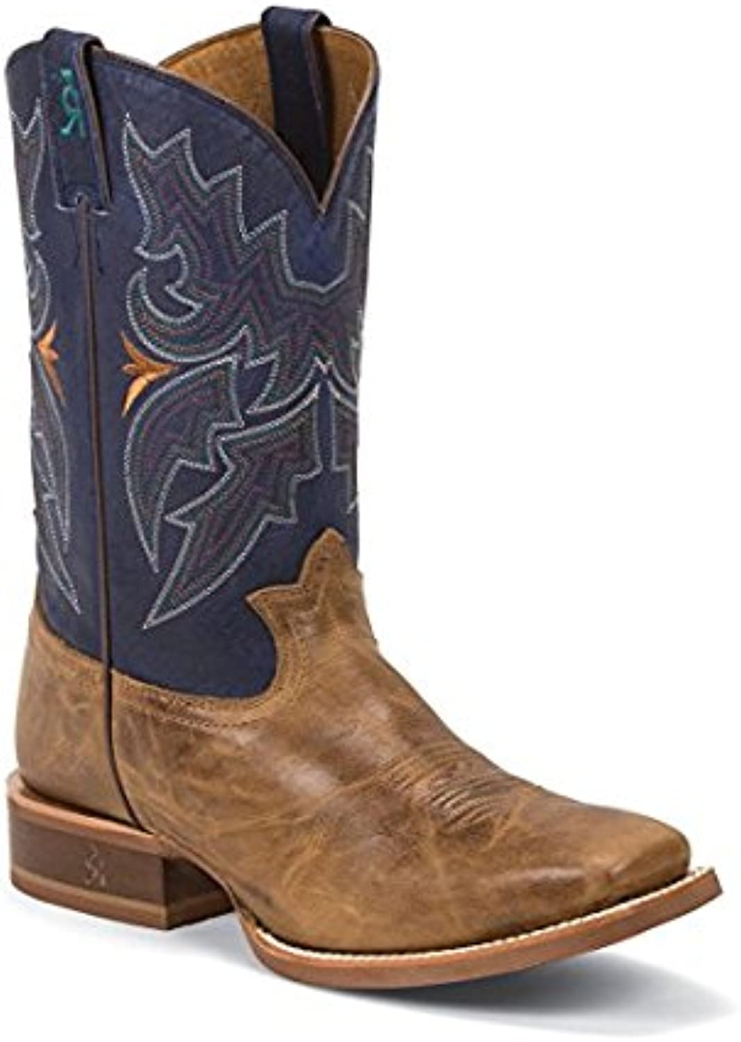 Tony Lama Men's Socorro bluee 11  Height (3R1128)   Foot Honey Sierra   golds Tans Cowboy Leather Boot   Handcrafted in The USA
