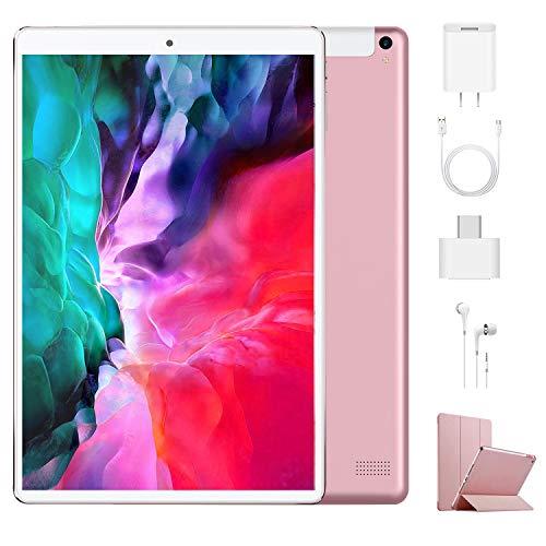 Tablet 10.1 Pulgadas 4G Android 9.0 Quad Core DUODUOGO P8 Tablet 4GB RAM 64GB ROM/128GB Escalables 8000mAh Doble SIM Doble Cámara Tablet PC Google GMS Netfilx WiFi GPS OTG (Estándar, Rosado)