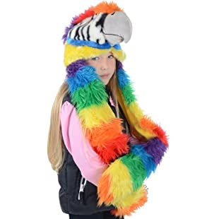 Boys Girls Deluxe Animal Hat With Attached Scarf & Mittens Faux Fur New - Parrot:Iracematravel