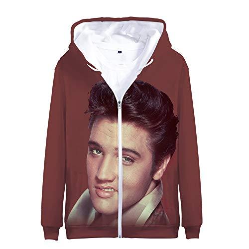 Elvis Presley Pullover Trendy Design-Outwear All-Match Hoodies Langarm Coats Breath Jacken bequemen Sweatshirt Karikatur-Druck-Pullover Unisex Unisex (Color : A04, Size : L)
