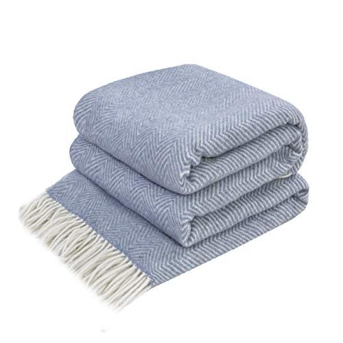 LoveYouHome Ecken Wolle Merinowolle Decke-Kuscheldecke Extra groß Überwurf Merino (140 cm X 200 cm - Weiß-Grau-Blau)