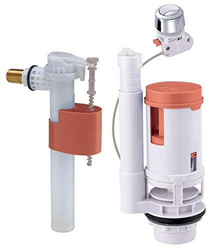 """Somather FOR YOU - Mecanismo completo para inodoro – Mecanismo universal con cable para vaciado doble caza/grifo flotador de alimentación lateral – Empalme de latón M12/17 (3/8"""")"""