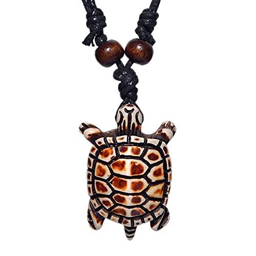 Collar de tortugas colgante para hombre, joyería Retro, estilo tribal indio Maya, imitación de hueso de Yak, amuleto, regalo