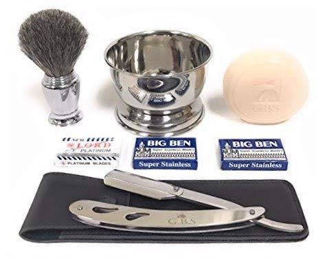Men s Shaving Professional Barber Straight Edge Razor Kit Stainless Interchangeable Folding Razor Shavette + Bristle Brush + Bowl + Blades & Glycerin Soap Old School Gentleman Wet Shave like a King