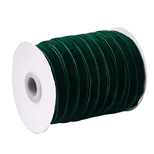 CHGCRAFT 50 Yards Dark Green Single Face Velvet Ribbon for Gift Wrapping Hair Bow Clips Making for Crafting Sewing Wedding Decoration 45.72m