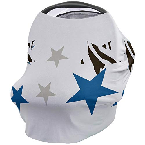 Nursing Cover for Breastfeeding Scarf & Car Seat-for Babies Girls Boys Infant,Soft Stretchy Infinity Cover Ups for Stroller Baby Car Seat-Five-Pointed Star Zebra Print