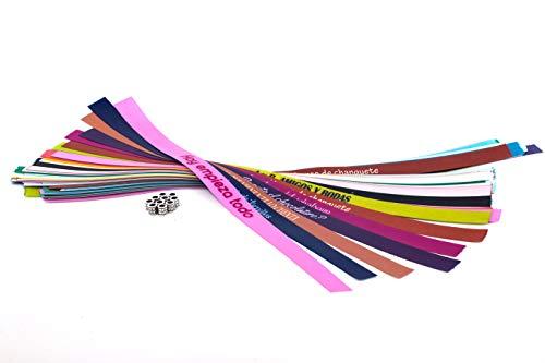 Pulseras de tela personalizadas para bodas, despedidas de soltero, comuniones, cumpleaños | Pulseras de tela con frases molonas | Pack de 50 unidades