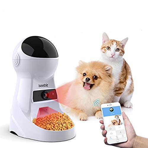 Iseebiz Alimentatore Automatico di Cibo,Distributore Automatico per Cani e Gatti con Fotocamera Incorpora, ControlloApp, Intelligenza Artificiale,Registrazione Vocale