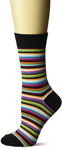 Hot Sox Women's Originals Novelty Crew Socks, Stripe Classic (Black), Shoe Size: 4-10