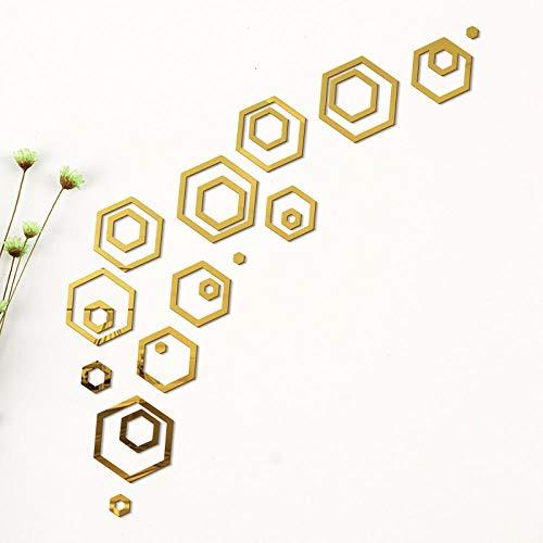 etiquet pared fondo pantalla pegatinas pared - Vinilo decorativo espejo combinado hexagonal-dorado