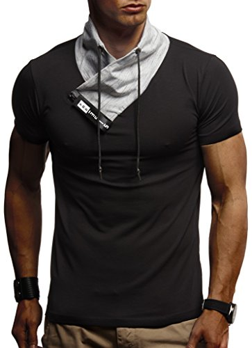 Leif Nelson Herren Sommer T-Shirt Stehkragen Slim Fit Casual Baumwolle-Anteil Cooles weißes schwarzes Männer Kurzarm-T-Shirt Hoodie-Sweatshirt-Longsleeve lang LN1135 Schwarz Medium