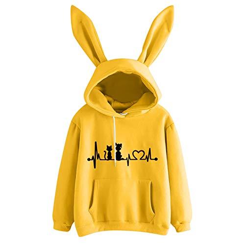 ZHansanFM - Sudadera con capucha para mujer, de manga larga, color sólido, con orejas de conejo, suave, elegante, para otoño e invierno Ae-amarillo. M