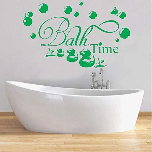 Pegatinas Etiqueta De Pared Animales Verdes Dibujos Animados Patos Tiempo De Baño Burbuja Niños Baño Vidrio Arte Vinilo Extraíble Decoración Del Hogar 68×42cm