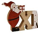 khevga Weihnachtsdeko Schriftzug Xmas Weihnachtsmann Tisch-Deko Weihnachten Holz - 2