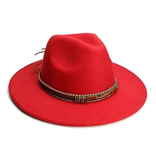 Xuguiping Unisex mannen vrouwen Vintage Fedora stijl blazer Jazz hoed Derby Cap hoed 56-58cm rood