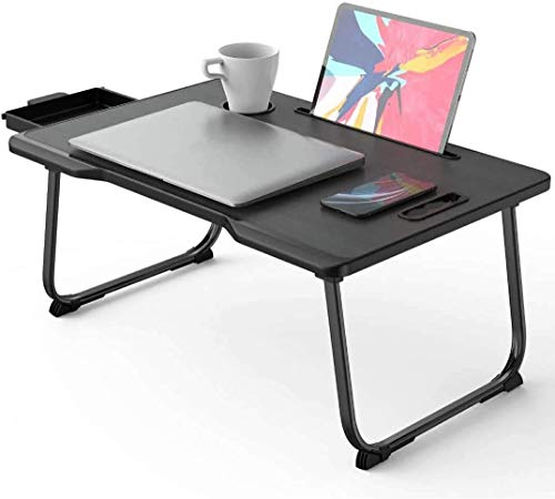 Laptop Stand for Bed, Portable Laptop Bed Tray Table with Foldable Legs & Cup Slot   Bed Desk for Eating, Reading, Working, Watching Movie on Bed/Couch/Sofa(Black)