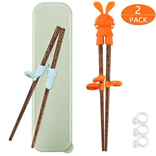 TOTKEN 2 Paare Training Essstäbchen, Lernen Holz Essstäbchen für Kinder Anfänger rechts oder Links Mit tragbaren Box