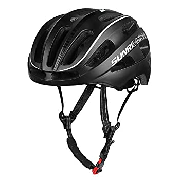 SUNRIMOON Adult Bike Helmet Rechargeable LED Rear Light Bicycle Helmet with Upgrade U Shape Side Strap Adjustable Size for Mountain & Road Cycle Helmets for Adults Men/Women - Black