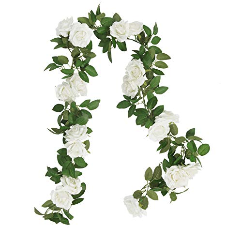 SHACOS 3pcs 6.5 Ft Artificial Rose Vine Silk Flower Rose Garland White Hanging Roses Flowers Plants for Home Garden Office Hotel Party Decor