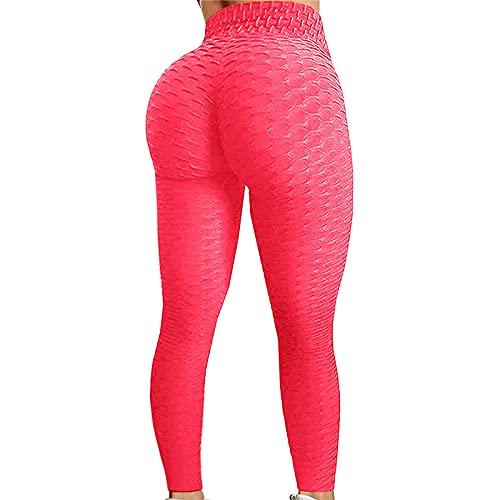 Leggings de deporte anticelulítico Slim Fit Butt Lift leggings de deporte pantalones de yoga compresión cadera con burbujas rosa L