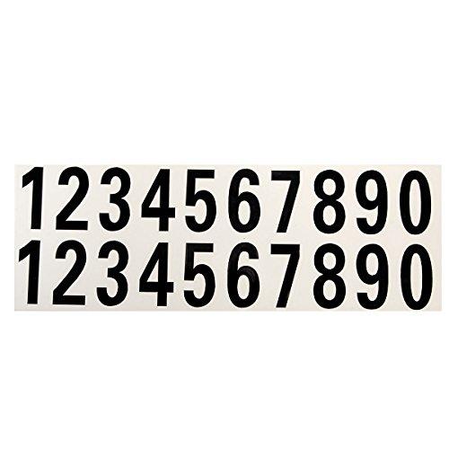Alamor Numéro De Voiture Autocollant Réfléchissant Vinyle Autocollant De Rue Adresse Mail Box Numéro Stickers Blanc Noir-Noir