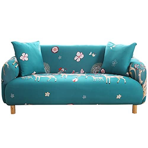 ASCV Funda de sofá con Estampado de Hojas Pastoral Sofá en Forma de L Sofá de Diferentes Formas Sofá de Dos plazas Sala de Estar Dormitorio Oficina A6 3 plazas