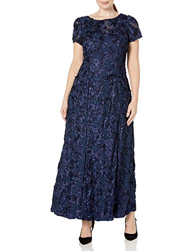 Alex Evenings Women's Plus-Size Long A-line Rosette Dress with Short Sleeves, Navy, 18W
