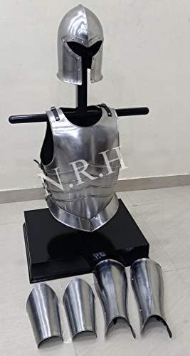 Maritime Replik Hub, Mittelalter-Rüstung, Barbuta-Helm, Arm- und Beinschutz, Brustplatte, Muskeljacke, Halloween-Kostüm