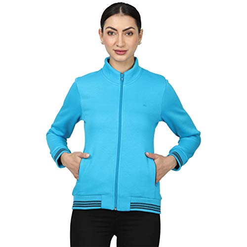 Monte Carlo Women's Solid Cotton Blend Sweatshirt (Turquoise, 36)-22008588-3