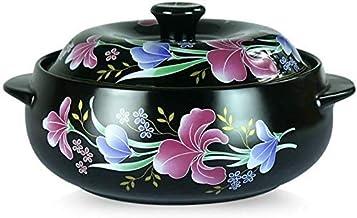 Praktisch Casserole gerechten braadpan schotel met deksel braadpan plattegrond keramische ronde braadpan schotel, bloem pa...