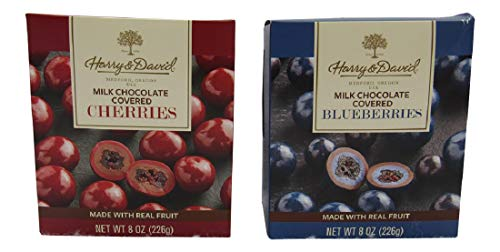 Harry & David Milk Chocolate Covered Blueberries and Milk Chocolate Covered Cherries (One 8 Box of Each)