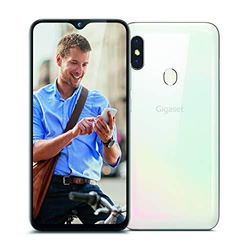 Gigaset GS290 Allrounder Smartphone (16,00 cm (6,3 Zoll) V-Notch Display, 4GB RAM, 64GB Speicher, Android 10, ohne Vertrag mit Clearcover zum Schutz) pearl white