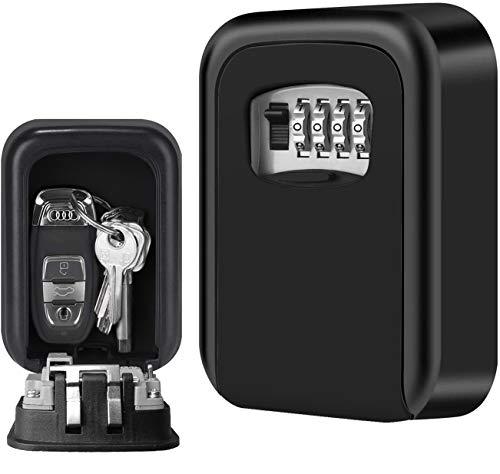 Caja Fuerte para Llaves, Candado de Seguridad con Combinación 4 Dígitos,Caja de Seguridad Llaves en la pareds, Adecuada para el Hogar, el Garaje y la Granja(Negro)
