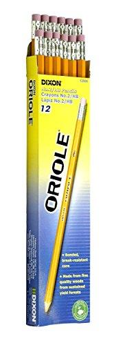 Dixon Ticonderoga Oriole Pre-Sharpened Black Core Pencils, #2, Yellow, Box of 12 (12886)(3Pack)